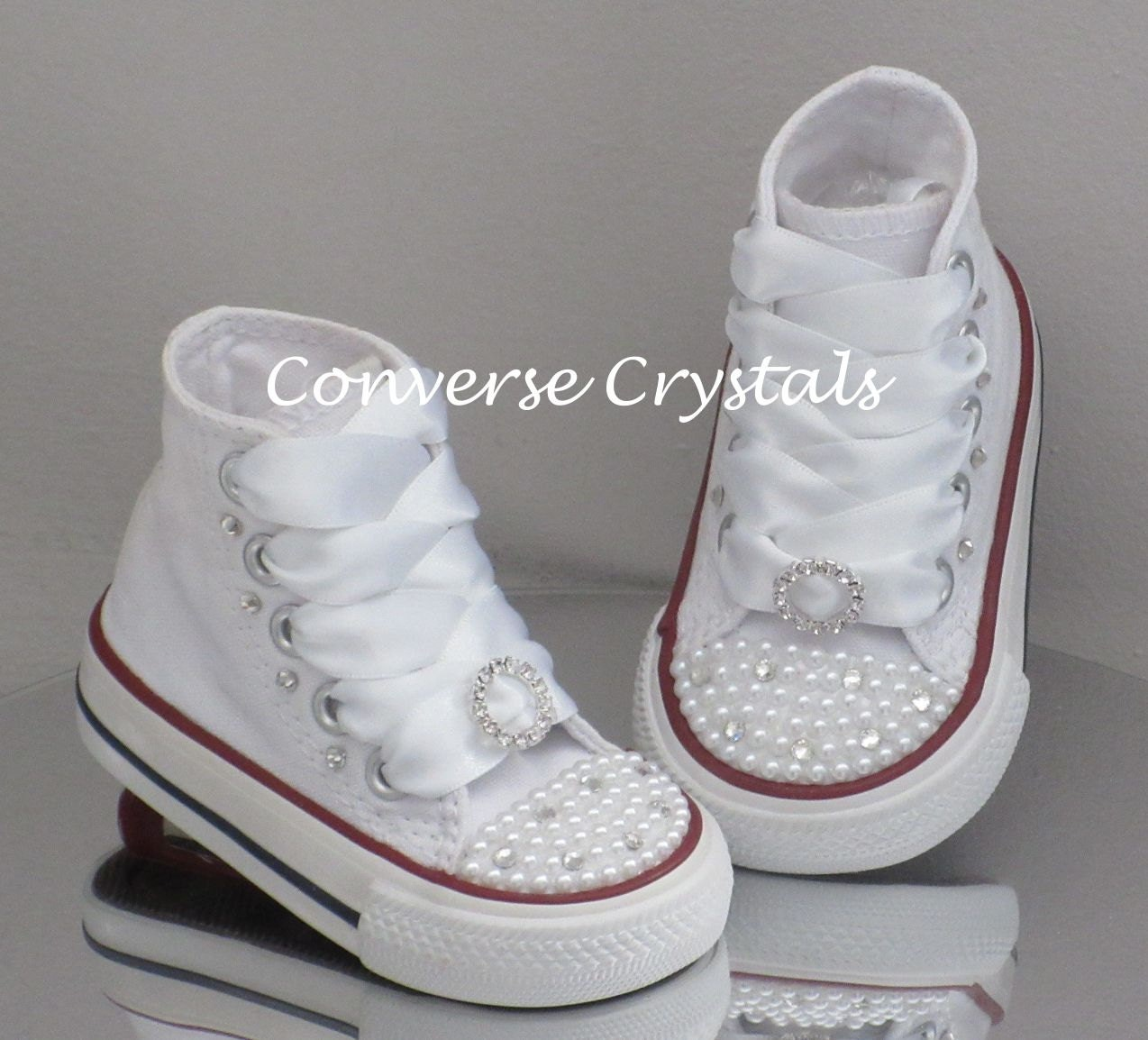 b137ecfa6980 Custom Crystal and Pearl  Bling  Toes Converse Sizes 2-10. Colour ...