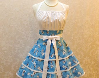 Snowman Apron Retro Chic Pinup Apron in Blue and White Olaf Snowman Fabric Flirty Women's Christmas Apron - Ready to Ship