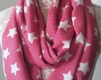 Stars and Stripes Infinity scarf, red and white scarf, Women's scarf, eternity scarf, Loop scarf,  super soft scarf, gift for her