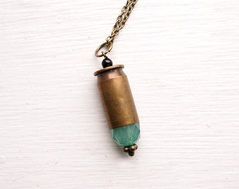 Bullet Necklace - .45 Bullet Casing Necklace - .45 Bullet Pendant - Huntress Style Jewelry - Faceted Seafoam Teal Glass Beading With Onxy
