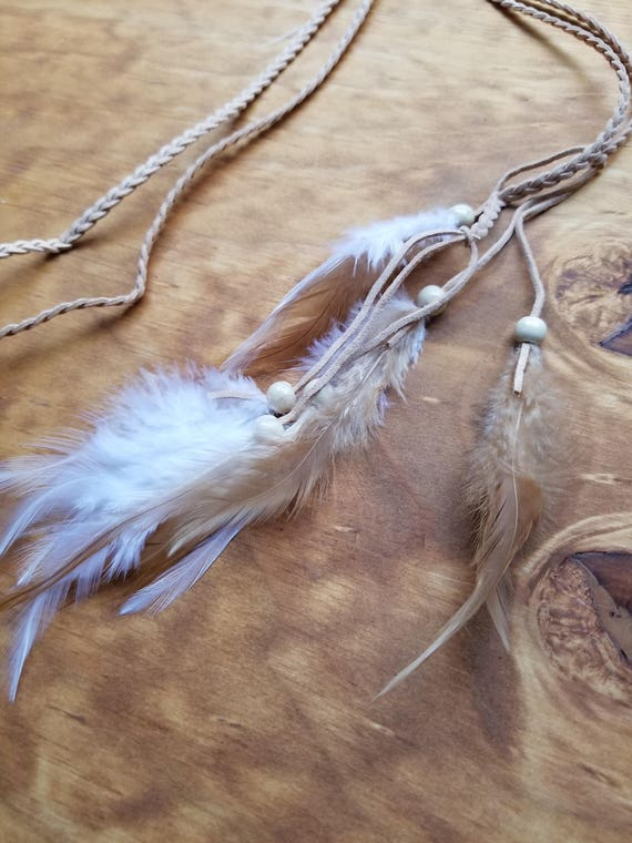 Tan Cord White Tan Feather Headdress Native American Boho Hippie Peace Nature Outdoor Fashion