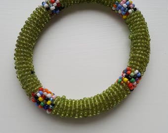 Green and multi-coloured beaded handmade bangle