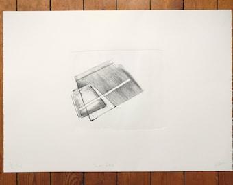 Art Print, Stone Lithograph, 'Shadow Dance', lithograph print, Drawing, Contemporary art print