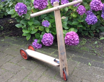 Vintage wooden scooter ABC Baby by VERO toys, made in Eastern Germany, DDR toy