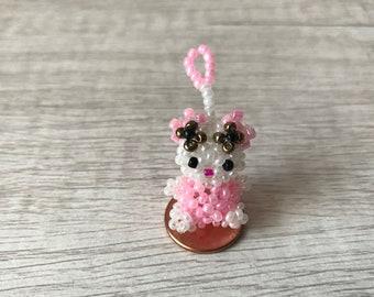 Miniature Bead Hello Kitty (Pink/White)