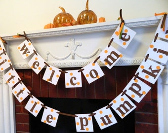 Welcome Little Pumpkin Banner- Fall Baby Shower Banner- Fall Baby shower Decor- Baby Pumpkin Banner - Welcome Baby Banner