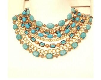 Layered Turquoise Bib Collar Hope Statement Necklace - Short Beaded Chain Layered Statement Necklace - Turquoise Necklace