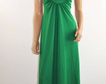 Vintage 60's 70's Kelly Green Formal Gown Greek Goddess Maxi Prom Dress Size XS