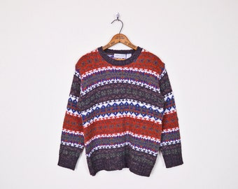 Fair Isle Sweater Fair Isle Jumper Fairisle Sweater Nordic Sweater Ski Sweater Icelandic Fall Sweater Wool Sweater Knit Sweater 90s S M L