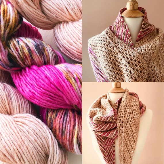 LOVELLA Shawl Wrap Yarn Kit - hand dyed yarn merino wool and silk alpaca wool. 3 skeins DK weight yarn. Pattern sold separately. DIY