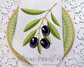 Machine Embroidery Design Black Olives - 2 sizes