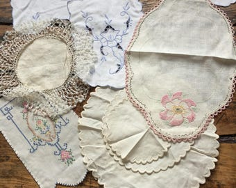 Fabric trim and lace pieces and doilies for crafts and sewing