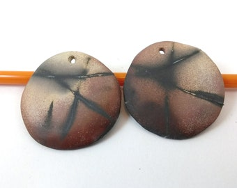 Ceramic Pendant Beads,Saggar Fired Ceramic Beads,Organic handmade Jewelry Supplies,Earring Components,One Hole Large Pendant Charms,OOAK