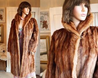 Red Mink Coat Mink Fur Coat Real Fur Coat Full Length Fur Vintage 30s 40s Cinnamon Fur Collar Coat Plush Striped Stroller Opera coat