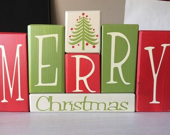 Merry Christmas- Wood Blocks- Sign- Centerpiece- Holiday- Mantle- Table Decor
