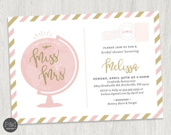 Traveling From Miss to Mrs Bridal Shower Invitation | Travel Theme Invitation | Digital File (5x7)