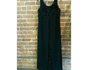 Vintage Mad Men 50s 60s black sequin gown with cutaway sides