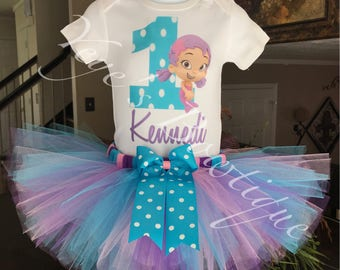 Bubble Guppies Birthday Tutu Outfit | Oona Birthday Tutu | 1st 2nd 3rd 4th 5th | Personalized Birthday Outfit