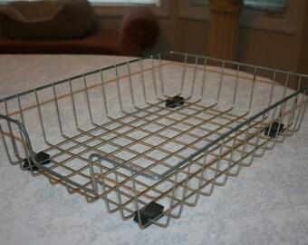 Vintage Office Paper Tray Industrial Rectangle Metal Basket Gathering Storage Basket