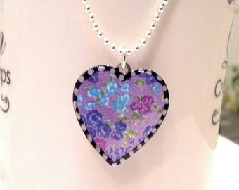 Lovely Lavender  Heart Pendant. Lovingly Handmade in Brooklyn by Wishing Well Studio.