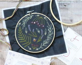 Wildwood Embroidery Kit (Black Design), Embroidery Design, Floral Embroidery, Hand Embroidery, Hoop Art, Modern Embroidery, Adult Craft Kit