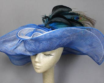 Ooh LaLa Large Blue/White  Vintage WideBrim Sun Hat Races Weddings High Tea