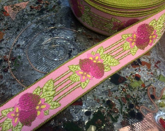 """Pink Strawberries - French Tight Weaved -  Embroidered Jacquard Ribbon - 1.1"""" Wide"""