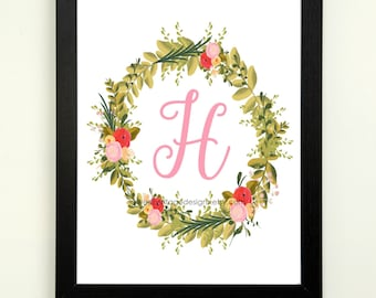 Letter H Printable, 8x10 Instant Download, Baby Girl Nursery Art, Nursery Decor, Floral Monogram, Letter Art, Baby Gift, Baby Shower Gift