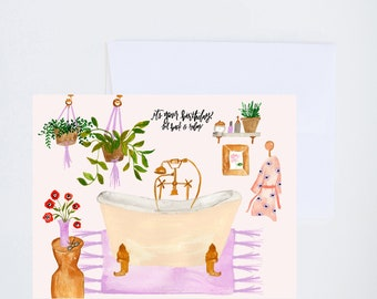 Birthday Greetings - Its Your Birthday Relax - Bathtub Scene   - Painted & Hand Lettered Cards - A-2