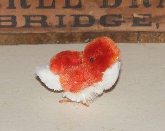 Vintage Orange and White Fluffy Chenille Easter Chick Wire Feet