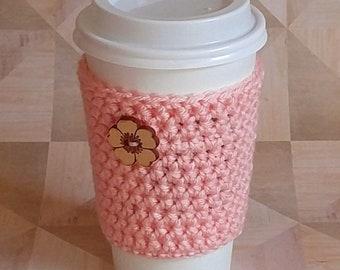 Cup Sleeve - Teacher Appreciation -  Coral - To Go Cup Sleeve - Reusable Coffee Sleeve - Heart Cozy - Tea Cozy