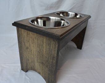 """Elevated Dog Feeder w/Stainless Steel 2 Quart Bowls, 12"""" Tall"""