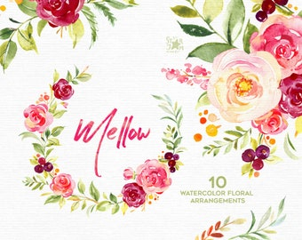 Mellow. Wreaths, bouquets, arrangements. Watercolor flowers clipart, floral, summer, burgundy, marsala, leaf, purple, greeting, ruby, fresh