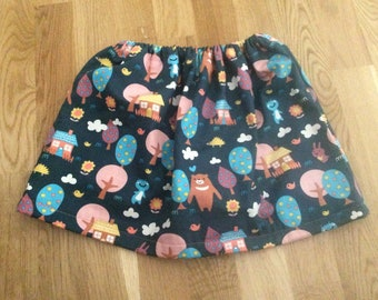 Quirky scandi style children's cute bear in the forest story skirt, lined with peach cotton