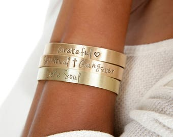 Christian Mantra Cuffs | Grateful Heart Gold Cuffs | Spiritual Gangster Hand Stamped Religious Cuff | Engraved Cuffs