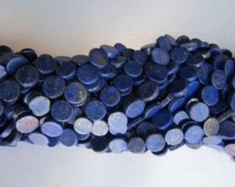 13ich Lapis coin beads gemstone single strand