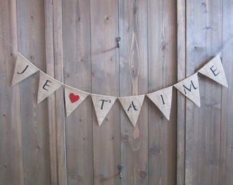 Je t'aime banner with red heart - Valentine's Day banner - French language banner