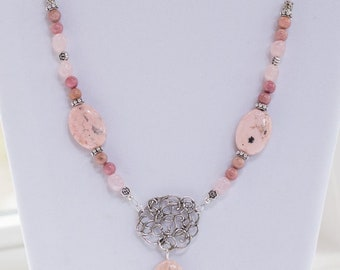 Necklace, Rhodochrosite and Rhodonite