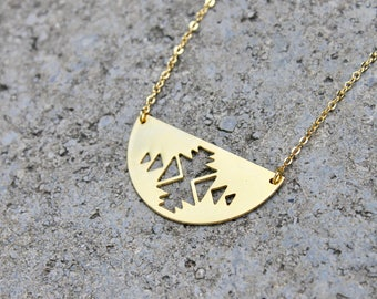 Gold Geometric Half Moon Necklace // 16K Gold // Minimal Ikat Necklace // Layering Triangle Arrow Necklace // Boho Necklace