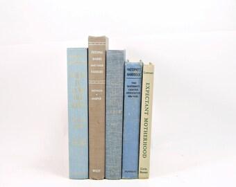 MOTHERHOOD Book Collection, BLue  Decorative Books, Antique book Gift, maternity Book Decor, Bedroom Decor, Old  pregancy BOoks, Baby BOoks