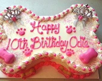 """Princess Style Dog Cake - Large - 9""""x5""""  Bone-Shape (Serves about 12) -"""