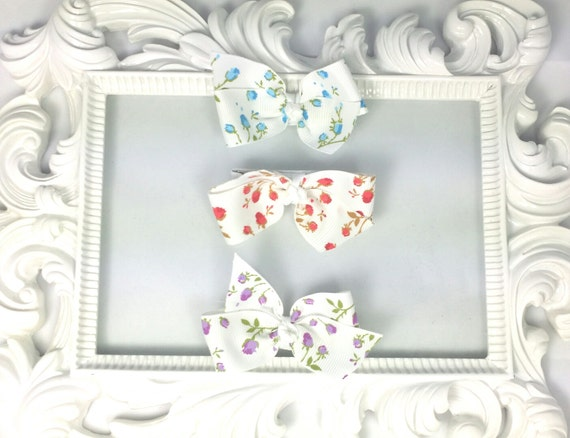 """2"""" Hairbow Rose Shabby Chic Hairbows Set of 3 Purple Pink Blue Toddler Girls Baby Hair Bows Hair Clips"""