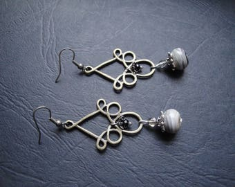 Bronze and gray earrings