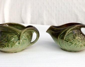 Vintage McCoy Sugar Bowl and Creamer set Collectible Green