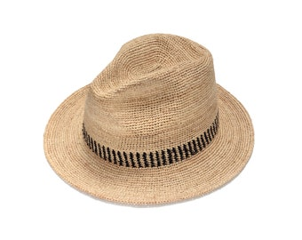 Raffia fedora straw hat , Mens straw fedora hat , Straw hat for women , Women summer hats , Sun hat , Beach hat, Boho chic hat