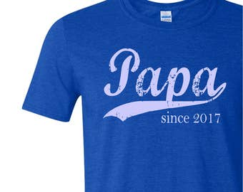 Papa since ANY year personalized tshirt, screen print t-shirt, new grandfather gift, Father's Day gift, graphic tee, gifts for men