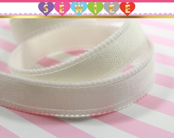 "5yds 5/8""W Off White Elastic Satin|Bra Strap Trim Headband Shiny White Stretch Elastic By The Yard|Shimmery Elastic|Lingerie Tape Picot Edge"