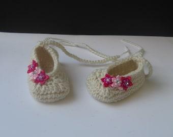Crochet ballerina baby shoes, ballerina shoes, newborn slippers, baby girl shoes, baby girl ballerina, baby girl slippers, baby booties