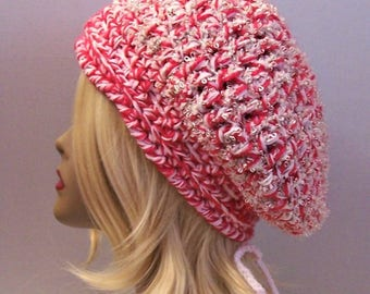 Womens Pink Party Slouchy Hat, Hot Pink Slouchy Beanie, Slouch Beret, Holiday Slouchy,  Shimmer Shine Tam Woman's Teens Beanie