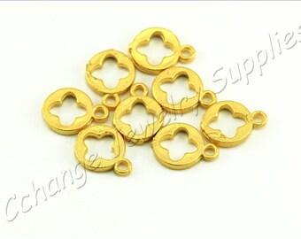 5 pcs Gold Cutout Clover Charms, (13mm x 10mm) Gold Cutout Clover Pendants, 24k Matte Gold Plated Charms, Brass Gold Clover Charm / GPS-209